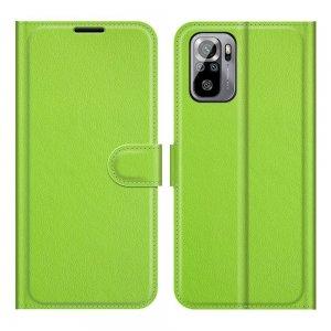 Чехол книжка для Xiaomi Redmi Note 10 отделения для карт и подставка Зеленый