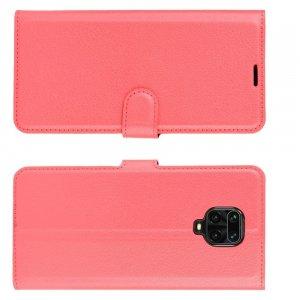 Чехол книжка для Xiaomi Redmi Note 9 Pro (9S,9 Pro Max) / Pro Max) отделения для карт и подставка Красный