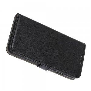 Чехол книжка для Xiaomi Redmi Note 9 Pro отделения для карт и подставка Черный