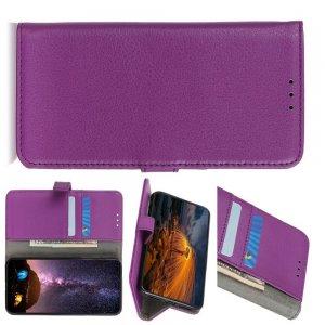 Чехол книжка для Xiaomi Redmi Note 9 Pro отделения для карт и подставка Фиолетовый