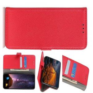 Чехол книжка для Xiaomi Redmi Note 9 Pro отделения для карт и подставка Красный