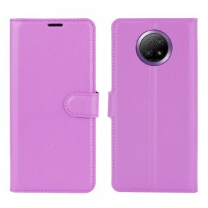 Чехол книжка для Xiaomi Redmi Note 9T отделения для карт и подставка Фиолетовый