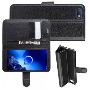 Чехол книжка кошелек с отделениями для карт и подставкой для Alcatel 1V 5001D - Черный