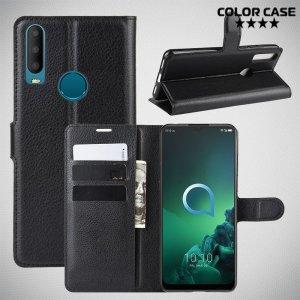 Чехол книжка кошелек с отделениями для карт и подставкой для Alcatel 3X (2019) - Черный