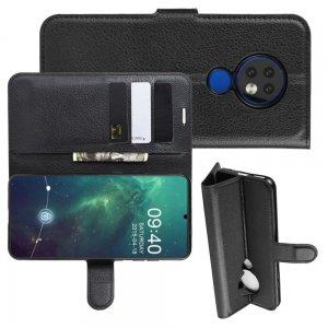 Чехол книжка кошелек с отделениями для карт и подставкой для Чехлы для Nokia 6.2 / 7.2 - Черный