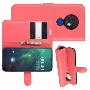Чехол книжка кошелек с отделениями для карт и подставкой для Чехлы для Nokia 6.2 / 7.2 - Красный