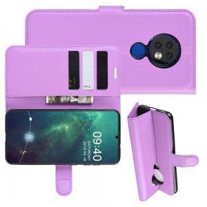 Чехол книжка кошелек с отделениями для карт и подставкой для Чехлы для Nokia 6.2 / 7.2 - Фиолетовый