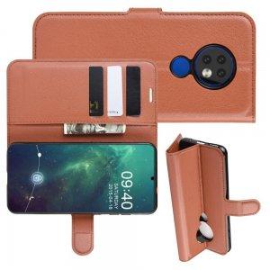 Чехол книжка кошелек с отделениями для карт и подставкой для Чехлы для Nokia 6.2 / 7.2 - Коричневый