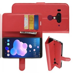 Чехол книжка кошелек с отделениями для карт и подставкой для HTC U12 Plus - Красный