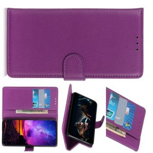 Чехол книжка кошелек с отделениями для карт и подставкой для Huawei Honor View 30 - Фиолетовый