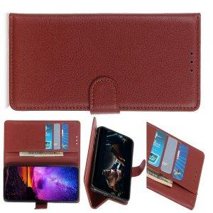 Чехол книжка кошелек с отделениями для карт и подставкой для Huawei Honor View 30 - Коричневый