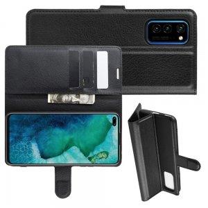 Чехол книжка кошелек с отделениями для карт и подставкой для Huawei Honor View 30 / View 30 Pro / 30 Pro - Черный