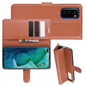 Чехол книжка кошелек с отделениями для карт и подставкой для Huawei Honor View 30 / View 30 Pro / 30 Pro - Коричневый