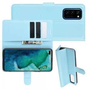 Чехол книжка кошелек с отделениями для карт и подставкой для Huawei Honor View 30 / View 30 Pro / 30 Pro - Синий