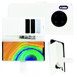 Чехол книжка кошелек с отделениями для карт и подставкой для Huawei Mate 30 Pro - Белый