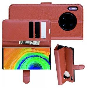 Чехол книжка кошелек с отделениями для карт и подставкой для Huawei Mate 30 Pro - Коричневый