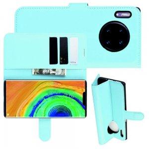 Чехол книжка кошелек с отделениями для карт и подставкой для Huawei Mate 30 Pro - Синий