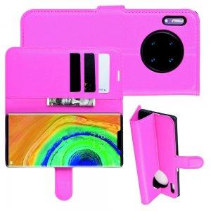 Чехол книжка кошелек с отделениями для карт и подставкой для Huawei Mate 30 Pro - Светло-Розовый