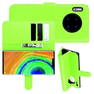 Чехол книжка кошелек с отделениями для карт и подставкой для Huawei Mate 30 Pro - Зеленый