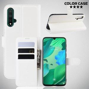 Чехол книжка кошелек с отделениями для карт и подставкой для Huawei nova 5 - Белый