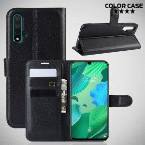Чехол книжка кошелек с отделениями для карт и подставкой для Huawei nova 5 - Черный
