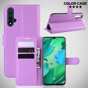 Чехол книжка кошелек с отделениями для карт и подставкой для Huawei nova 5 - Фиолетовый