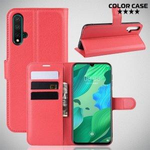 Чехол книжка кошелек с отделениями для карт и подставкой для Huawei nova 5 - Красный