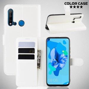 Чехол книжка кошелек с отделениями для карт и подставкой для Huawei P20 lite (2019) / nova 5i - Белый