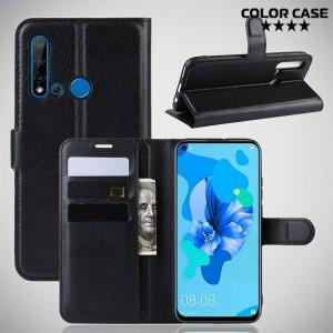 Чехол книжка кошелек с отделениями для карт и подставкой для Huawei P20 lite (2019) / nova 5i - Черный