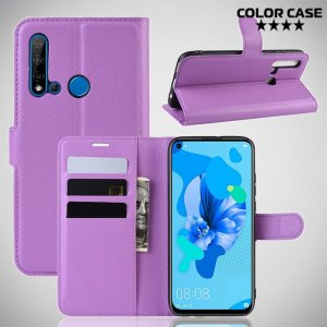 Чехол книжка кошелек с отделениями для карт и подставкой для Huawei P20 lite (2019) / nova 5i - Фиолетовый