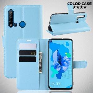 Чехол книжка кошелек с отделениями для карт и подставкой для Huawei P20 lite (2019) / nova 5i - Голубой