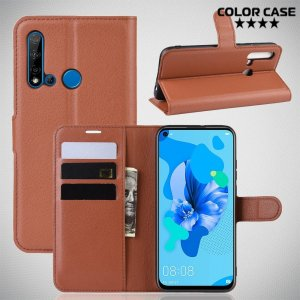 Чехол книжка кошелек с отделениями для карт и подставкой для Huawei P20 lite (2019) / nova 5i - Коричневый