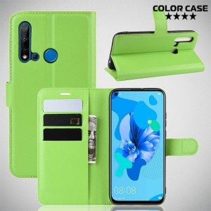 Чехол книжка кошелек с отделениями для карт и подставкой для Huawei P20 lite (2019) / nova 5i - Зеленый