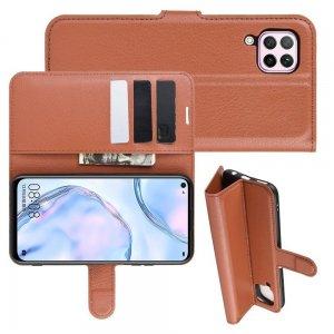 Чехол книжка кошелек с отделениями для карт и подставкой для Huawei P40 Lite - Коричневый