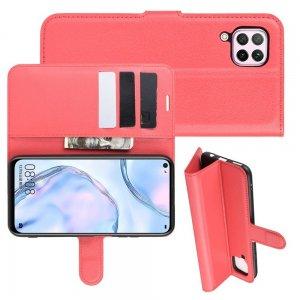 Чехол книжка кошелек с отделениями для карт и подставкой для Huawei P40 Lite - Красный