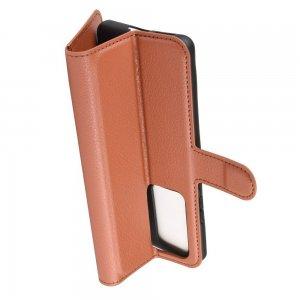 Чехол книжка кошелек с отделениями для карт и подставкой для Huawei P40 Pro - Коричневый