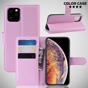 Чехол книжка кошелек с отделениями для карт и подставкой для iPhone 11 Pro Max - Розовый
