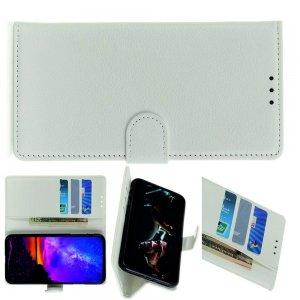 Чехол книжка кошелек с отделениями для карт и подставкой для LG G8X ThinQ - Белый