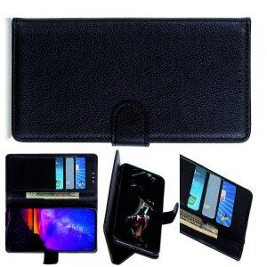 Чехол книжка кошелек с отделениями для карт и подставкой для LG G8X ThinQ - Черный