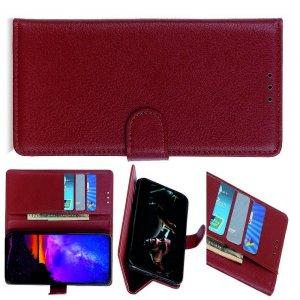 Чехол книжка кошелек с отделениями для карт и подставкой для LG G8X ThinQ - Коричневый