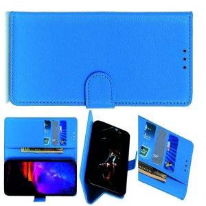 Чехол книжка кошелек с отделениями для карт и подставкой для LG G8X ThinQ - Синий