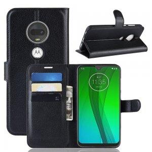 Чехол книжка кошелек с отделениями для карт и подставкой для Motorola Moto G7 - Черный