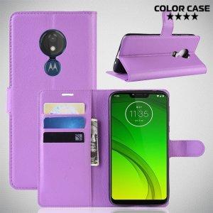 Чехол книжка кошелек с отделениями для карт и подставкой для Motorola Moto G7 Power - Фиолетовый