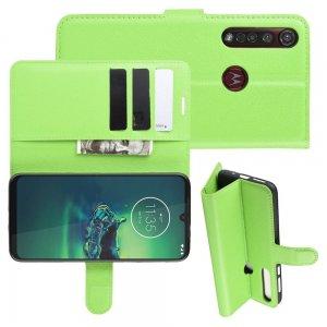 Чехол книжка кошелек с отделениями для карт и подставкой для Motorola Moto G8 Plus - Зеленый