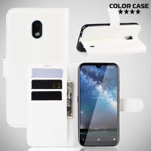 Чехол книжка кошелек с отделениями для карт и подставкой для Nokia 2.2 - Белый