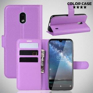 Чехол книжка кошелек с отделениями для карт и подставкой для Nokia 2.2 - Фиолетовый