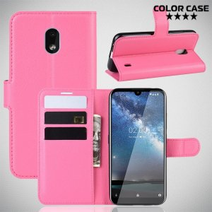 Чехол книжка кошелек с отделениями для карт и подставкой для Nokia 2.2 - Розовый
