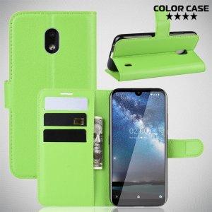 Чехол книжка кошелек с отделениями для карт и подставкой для Nokia 2.2 - Зеленый