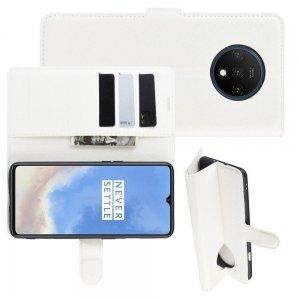 Чехол книжка кошелек с отделениями для карт и подставкой для OnePlus 7T - Белый