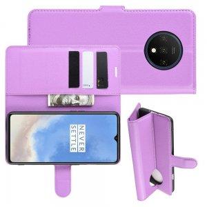 Чехол книжка кошелек с отделениями для карт и подставкой для OnePlus 7T - Фиолетовый